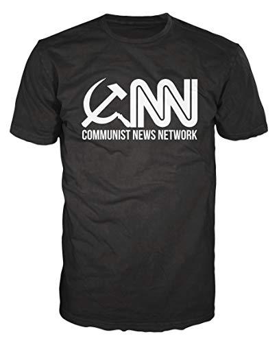 Dalesbury CNN Communist News Network Funny Media Conspiracy T-Shirt (L, Black)