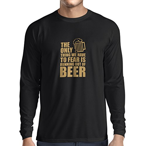 Camiseta de Manga Larga para Hombre Tener Miedo de no Tener una Cerveza - para la Fiesta, Bebiendo Camisetas (XX-Large Negro Oro)