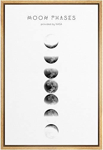 SIGNFORD Framed Canvas Print Wall Art Phases of The Moon with Typography Abstract Wilderness Illustrations Modern Art Contemporary...