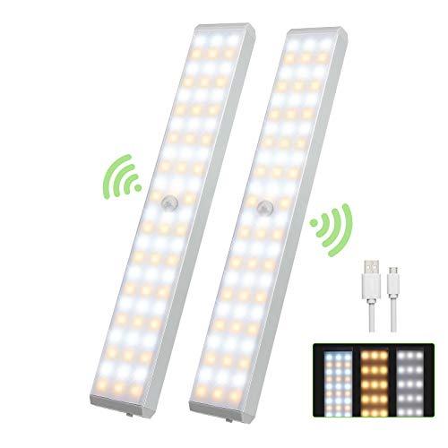 Luz Led Armario Magnética 72 LED, 1200mA Luz Sensor Movimiento USB Recargable,LED Armario con 3 Colores de Brillo, Luz Armario para Escaleras, Armario, Pasillo, Cocina, Gabinete-2 Pack