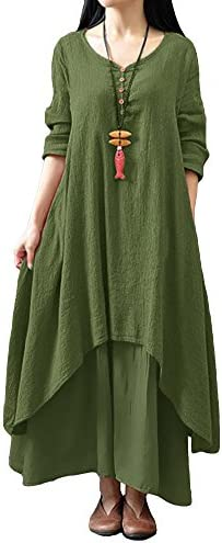 Romacci Women Boho Dress Casual Irregular Maxi Dresses Layer Vintage Loose Long Sleeve Linen product image