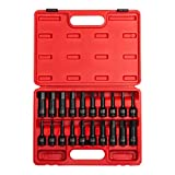 Sunex 2637, 1/2' Drive Impact Hex Driver Set, 20Piece, SAE/Metric, 1/4' - 3/4', 6mm - 19mm, Cr-Mo Steel, Dual Size Markings, Heavy Duty Storage Case, Meets ANSI Standards,