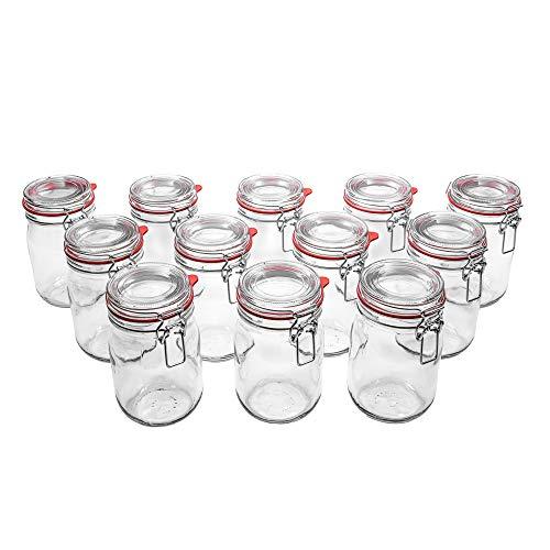 Flaschenbauer - 12 Drahtbügelgläser 1140ml verwendbar als Einmachglas, zu Aufbewahrung, Gläser zum Befüllen, Leere Gläser mit Drahtbügel