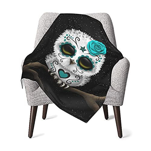 Baby Blanket, Cute Teal Day of The Dead Sugar Skull Owl Stars Unisex Baby Plush Receiving Blankets 3040 in for Boys and Girls FASHLOVE