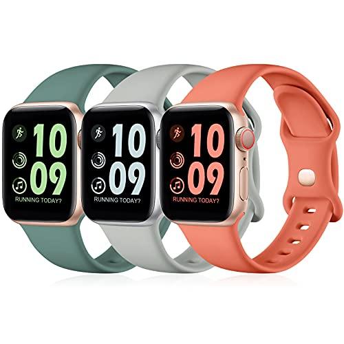 Maledan 3 Pack Correas Compatible con Apple Watch Correa 44mm 42mm 40mm 38mm, Correa de Silicona Suave de Repuesto Compatible con iWatch SE/Series 6 5 4 3 2 1, 42mm/44mm-M/L, Gris/Pino Verde/Coral