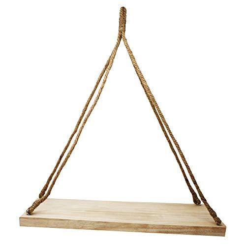 ToCi Hängeregal Holz , hängendes Wandregal mit Jute Seil zum Aufhängen, Deko Schweberegal, Regal (50 x 20 x 3 cm)