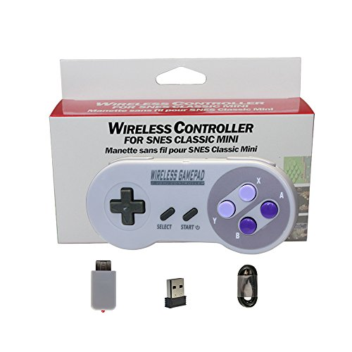 2.4GHz Wireless Controller for SNES Classic Edition, Perfectmall Rechargeable USB Gamepad Joystick with Retro for PC (OS,Windows,Linux,Raspberry PI). Double Wireless Adapter (Mix-color)