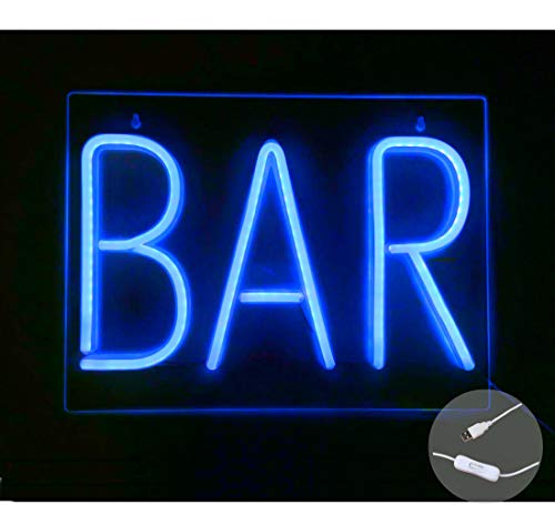 """Britrio LED Neon Letter Light Sign, 16""""x12"""" Blue BAR Wall Art Decorative Neon Sign Pin Wall Hanging Window Decor Sign for Business Pub Beer Bar Bistro Party USB Powered(Blue BAR)"""