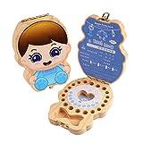 EEGR Caja para Dientes de bebé Organizador de guardado Caja de Hadas de Dientes Primer Diente de Madera y Organizador de Recuerdo de Lanugo,B