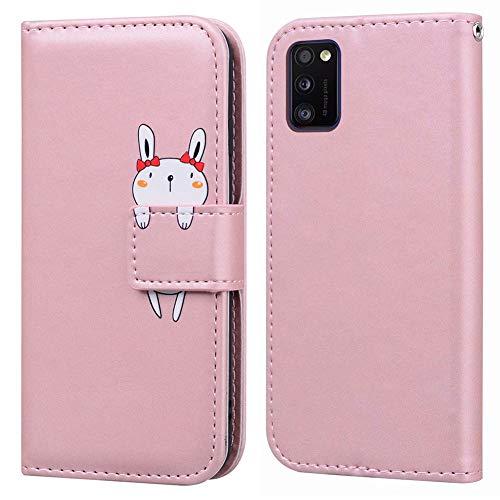 Ailisi Samsung Galaxy A41 Hülle, Karikatur Weiß Rabbit Muster Leder Handyhülle Brieftasche Schutzhülle Leder Flip Hülle Wallet Cover Klapphüllen Tasche Etui mit Kartenfächern+Stand -Hase, Pink