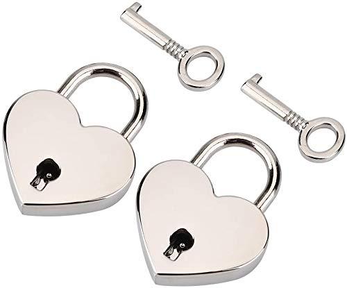 Candado pequeño de metal en forma de corazón, 2 unidades, mini cerradura de amor con llave para caja de joyería, caja de almacenamiento, diario, libro de equipaje, paquete de 2 unidades