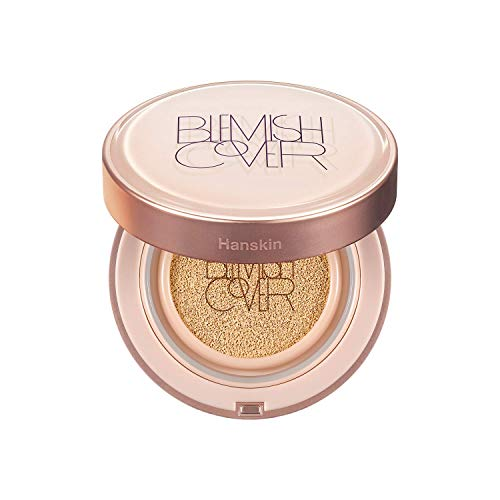 Hanskin Blemish Cover Conceal Cushion, Full Coverage Dewy Glow Cushion Foundation Case with SPF 50 +, Hyaluronic Acid, Brightening, Moisturizing, Hydrating [No. 21 Cream / Glow / 0.38 oz x 2 Refills]