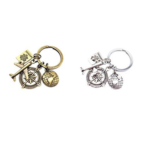 Abaodam Lot de 2 porte-clés créatifs sur le thème du voyage - Décoration unique - Petit cadeau pour les étudiants - Pour garçons et filles (bronze + argent ancien)
