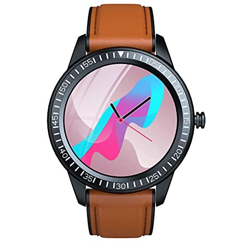 BNMY Smartwatch Pulsera Inteligente Reloj Inteligente 1.28 Pulgadas Prueba Agua Ip67 Reloj para Contestar El Teléfono Rastreador Ejercicios con Monitor Frecuencia Cardíaca para Hombre Y Mujer,Marrón