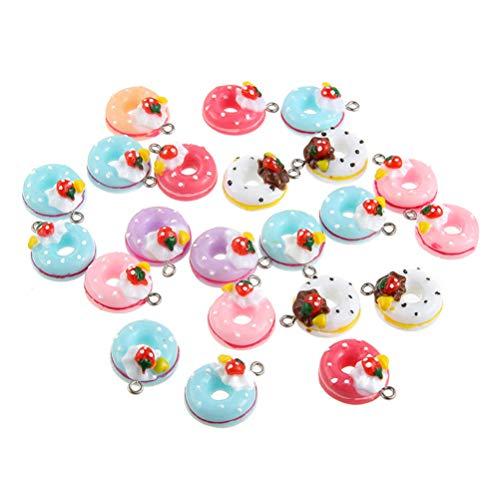 SUPVOX 20Pcs Donut Charms Bag Colgantes Creativo Plástico Donut DIY Scrapbooking Caja del Teléfono Regalo Llavero Bolsa Accesorio (Color Mezclado)