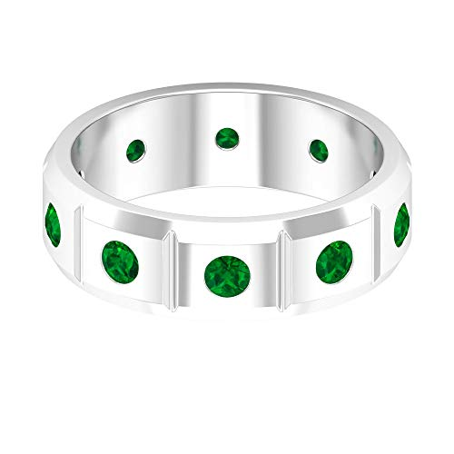 Anello da uomo unico, con pietra portafortuna del mese di maggio, anello di smeraldo rotondo 0,6 ct, anello di fidanzamento dello sposo, coppia di anelli abbinati, 14K Oro bianco, Size:EU 62