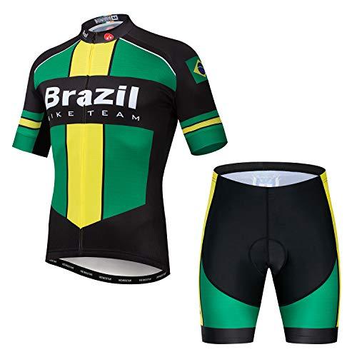 JPOJPO - Maglia da ciclismo da uomo, a maniche corte, con imbottitura 5D, taglia S-3XL