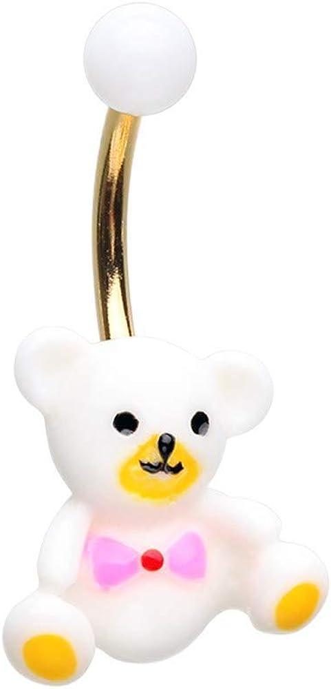 Golden Teddy Bear Non Dangle Belly Button Ring