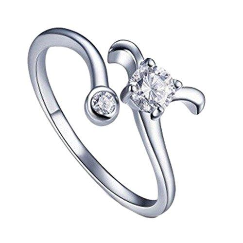 Verzilverd Ster Teken Ram Ring Grootte 17 (NL) 8 (US) Verstelbaar Open Dierenriem Strass Duim Dames Inpakken
