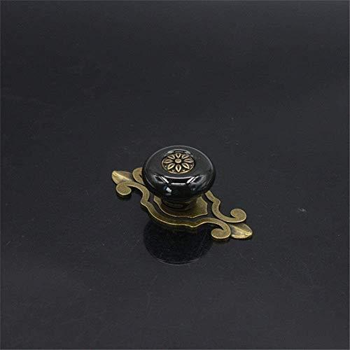 Ccgdgft keramische deurkruk 10 Pack ronde keramische knoppen met vintage bronzen basis, retro landelijke pastorale stijl kast kast dressoir dressoir deurkruk trekgrepen keramische kast lade knop deurkruk