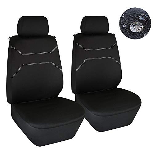 Elantrip Waterproof Front Seat Covers Water Resistant Bucket Seat Protector Universal Fit Airbag Compatible for Cars SUV Truck, Black 2 PC