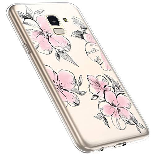 MoreChioce kompatibel mit Samsung Galaxy J6 2018 Hülle,Galaxy J6 2018 Handyhülle Blume,Ultra Dünn Transparent Silikon Schutzhülle Clear Crystal Rückschale Tasche Defender Bumper,Blumenzweig #28