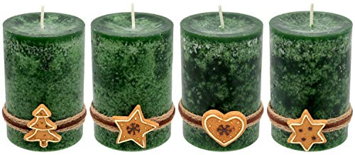 ZauberDeko 4 Adventskerzen Kerzen Stumpenkerzen Grün Dunkelgrün Kekse Plätzchen Weihnachten Advent Deko Tischdeko