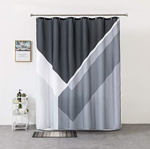 Rellosatul - Bathroom Fabric - Shower-Curtain - Water-Repellent - Polyester - Washable Shower Curtains for Showers, Black and Grey 72 ×72 Inch