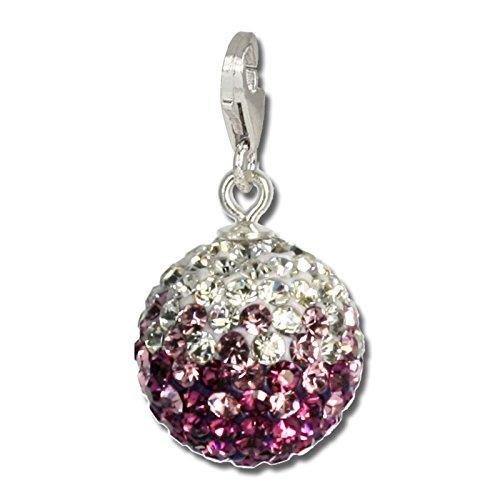 SilberDream Glitzer Charm Swarovski Kristalle Kugel lila ICE Anhänger 925 Silber für Bettelarmbänder Kette Ohrring GSC219V
