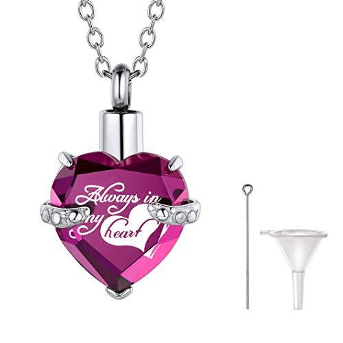Ricshteel Corazón Violeta Piedra Personalizable Colgantes para Cenizas Guardapelo Perfume Relicario Urna de cremación Acero Inoxidable Collar para Mujer Hombre Gratis Estuche