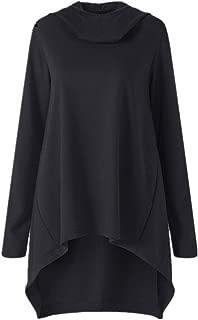 ✦HebeTop✦ Women's Loose Solid Color Pullover Hoodie Irregular Hem Sweatshirts Dress