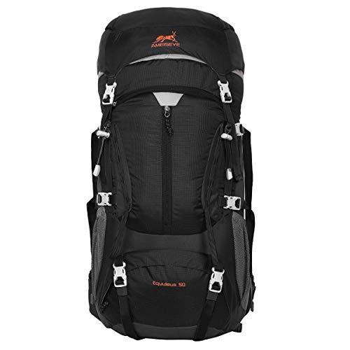 Eshow Trekkingrucksäcke Wanderrucksäcke Reiserucksack 50L für Trekking Wandern und Bergsteigen Wasserdicht Ultraleicht 31 * 60 * 23 mit Regenabdeckung (Schwarz-1)
