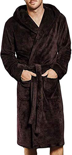 Tammy W Nash Mens Hooded Bathrobe Fuzzy Fleece Robe Sherpa-Lined Robe Dressing Gown Housecoat Full Length
