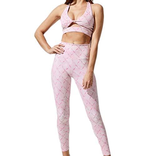 Povanjer Conjuntos de gimnasio de entrenamiento acanalado para mujer, 2 piezas cintura alta sin costuras yoga leggings+sujetadores deportivos trajes de entrenamiento para mujeres 2 piezas