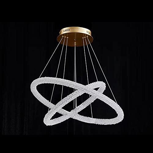 NAMFHZW Lámpara colgante de techo de doble anillo nórdico LED Luz colgante de atenuación de tres colores Acabado de cristal Lámpara colgante semi incrustada Conjunto de altura ajustable Luminaria Sala