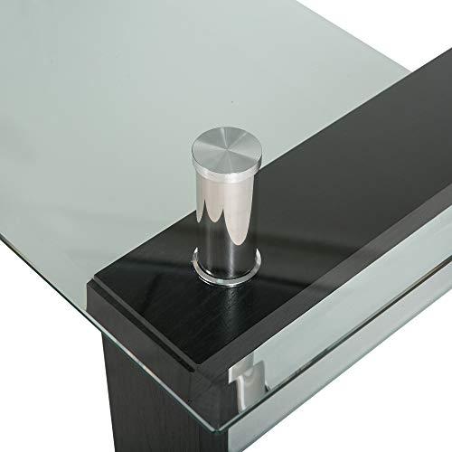 jeerbly Mesa de centro de cristal templado de color negro, moderna mesa rectangular con estante inferior y patas de madera
