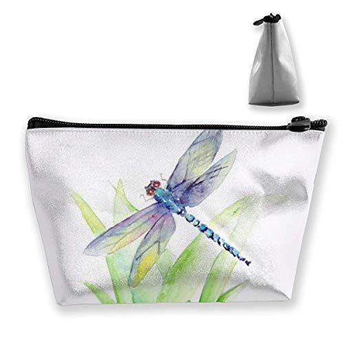 Gray Dragonfly Painting Casual Make Up Bag Tote Bag, Colorful Neon Pot Leaf Weeds Party Travel Makeup Train Case Pouch Large Capacity Carry On Bag, Luggage Pouch, Makeup Pouch] for Women Girls Ladies