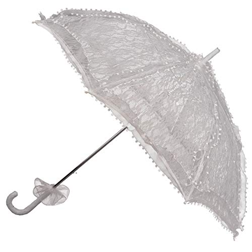 Amakando Edler Sonnenschirm mit Rüschen Biedermeier / Weiß Länge: 80cm, Breite: 75cm / Schicker Brautschirm / Einsetzbar zu Hochzeit & Sommerfest
