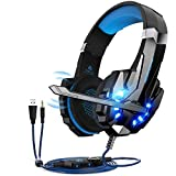 Cuffie da Gioco per PS4 ,Cuffie Gaming con 3.5mm Jack LED Cuffie da Gaming con Microfono Bass Stereo e Controllo Volume Gaming Headset per PS4 pro/Xbox One X e S/Nintendo Switch/PC/Laptop/Tablet