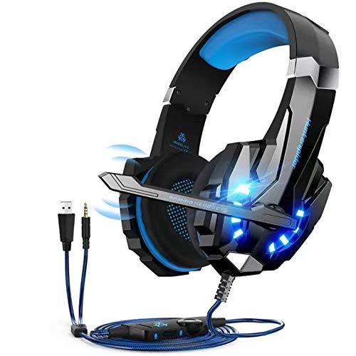 Hunterspider V-9 Auriculares para videojuegos con micrófono, sonido envolvente de bajos estéreo (Stereo Bass Surround), luz led, color azul