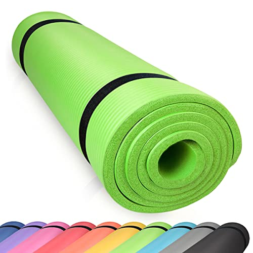 diMio Sport-Tec - Esterilla de yoga (185 x 60 x 1 cm, 185 x 60 x 1,5 cm, 185 x 90 x 1,5 cm, 200 x 100 x 2 cm, sin ftalatos, certificado SGS, color verde, 185 x 60 x 1 cm)
