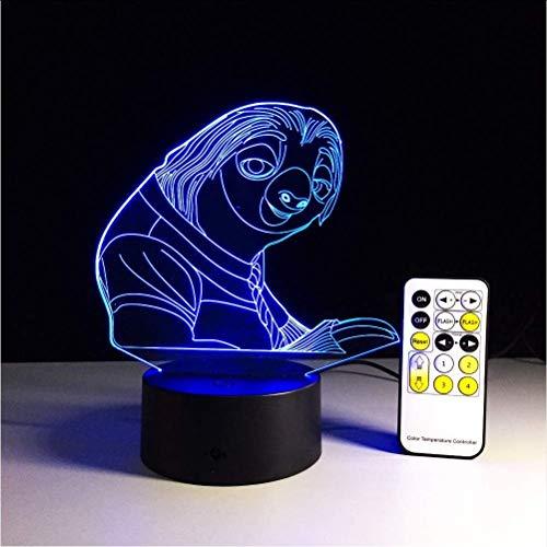 Verrückte Tier Stadt 7 Farben Ändern 3D Remote Touch Bulbing Licht Faultier Illusion USB Led Lampe Kreative Action Figure Kinder Geschenk