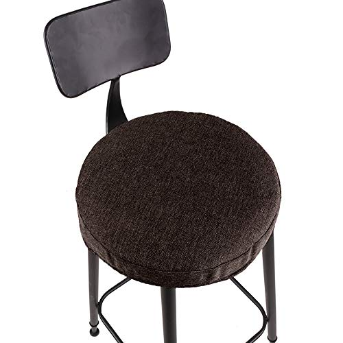 JISEN Breathable Linen Round Bar Stool Cover Padding Cushion Elastic Protectors with Fixing Strap 15 Inch Coffee