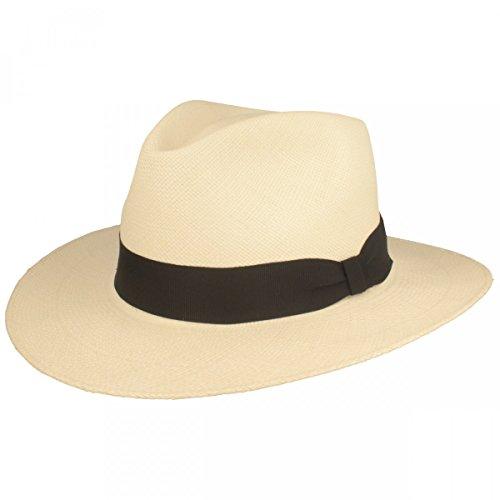 ORIGINAL Panama-Hut | Stroh-Hut | Sommer-Hut aus Ecuador – Traditionell Handgeflochten in Brisa 4 Flechtung, 7,5 cm breite Krempe & Bruchschutz -Weiß