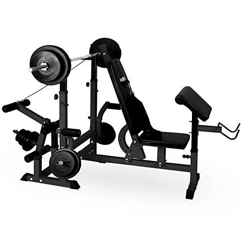 Klarfit Workout Hero 3000 Banco de musculación multifunción - Entrenamiento con Cargas guiadas, Banco de Pesas, Press de banca, Remo, Curler piernas, Peso máximo 100 kg, Estable, Acero, Negro