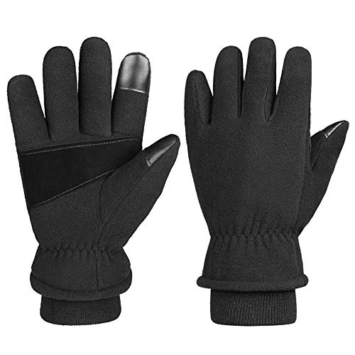 Winter Gloves Cold Proof Snow Work Thermal Glove Warm Polar Fleece Insulated Lamb Wool for Women and Men (Small)