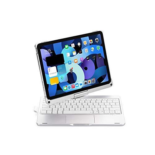 NVFED Funda para teclado giratorio para iPad de 12.9 pulgadas 2020 2018 Touchpad retroiluminado inalámbrico Bluetooth teclado funda funda + lápiz capacitivo (color plateado)