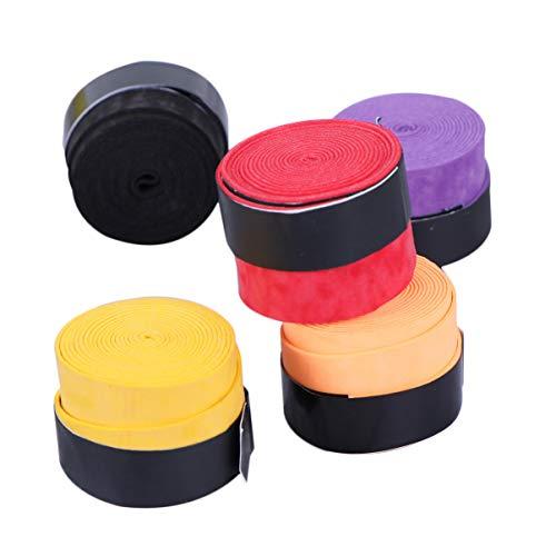 Garneck 5 bandas de agarre antideslizante para raqueta de bádminton, absorbentes del sudor, bandas de envoltura para caña de pescar (color al azar)