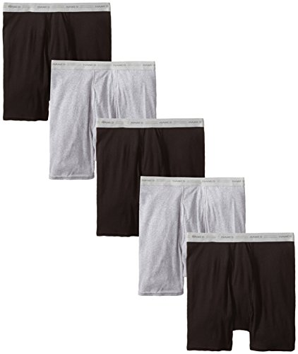 Hanes Men's 5-Pack Boxer with ComfortFlex Waistband Brief, Black/Grey, X-Large