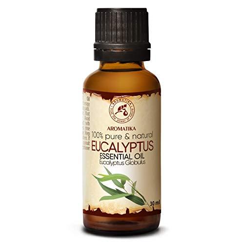 Huile Essentielle Eucalyptus 30ml - 100% Naturel - Eucalyptus Globulus - pour Beauté - Sauna - Aromathérapie - Diffuseur d'arômes - Lampe à Parfum